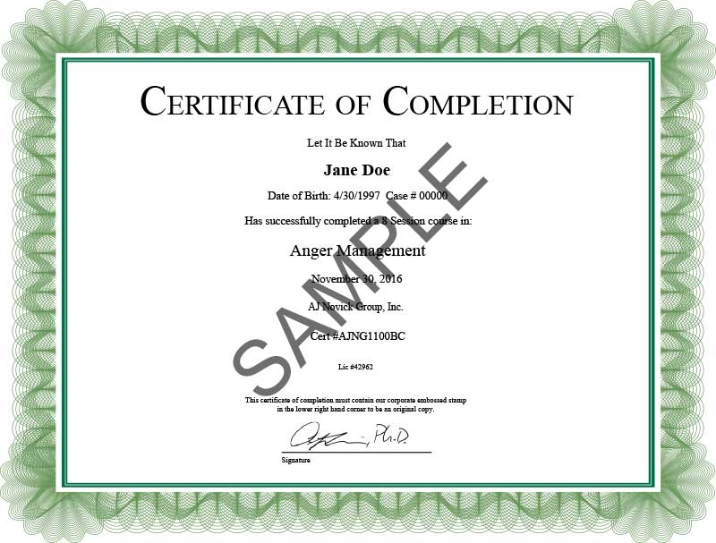 View A Sample Copy Of Our Anger Management Certificate Completion